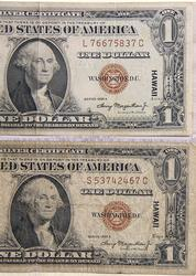 2   X 1935 A $1 Silver Certificate Hawaii Emergency overstamp
