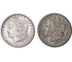 1887S and 1896 Morgans Silver Dollars