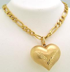 Gold Heart Pendant on 24 Inch Chain