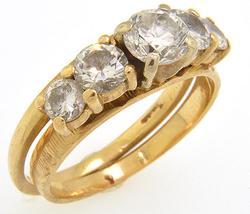 Ladies 14kt Gold 1.60ctw Diamond Wedding Set
