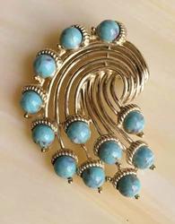 Amazing, Signed 'MX', Turquoise & Gold Swirl Draping Pin