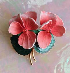 Pretty, Tropical Peach Flowers, Guilloche Leaves Pin