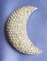 Stunning, 'Les Bernard' Designer, 'Half Moon' Crystal Pin