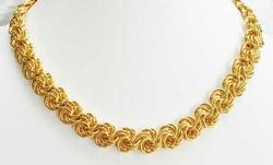 Dramatic, Swirling, Gold Plated Links, Chain Necklace
