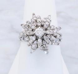 Bursting With Diamonds, Vintage Art Deco Diamond Ring