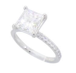 GIA Certified 2.10CT Princess Cut Diamond Ring