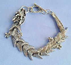 Dramatic Mans Heavy Silver 'Dragon' Bracelet