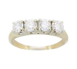 Ring Featuring 4 Round Cut Diamonds in 14kt Gold