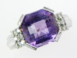 Finest 14K Checkerboard Amethyst & Diamonds Ring