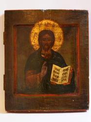 Marvelous Russian Wooden Icon Of Christ Pantocrator