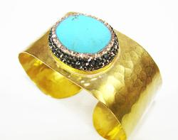 TOP FASHION BEAUTIFUL GEM GOLD PLATED ARTISAN BRACELET