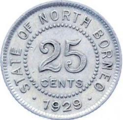 Stunning British North Borneo 25 Cents 1929 Silver Coin