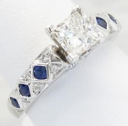1.22CTW Diamond and Sapphire Ring