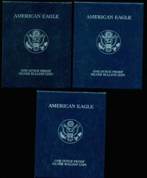 2004, 2005, & 2008 Proof Silver Eagles with Box/CoA