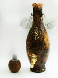 Amazing Russian Decanter With Brass Tap, Cap & 2 Shots