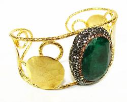 SPECTACULAR LARGE GEM GOLDPLATED ARTISAN BIJOU BRACELET