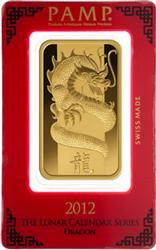 100 Gram Fine Gold PAMP Dragon Design Bar