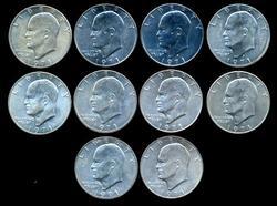 10 BU 1971-S 40% Eisenhower Silver Dollars