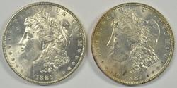 2 Lovely BU Morgan Silver Dollars from 1886 & 1887