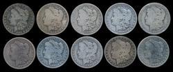 Bag of 10 Assorted Circulated Morgan Silver Dollars