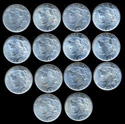 Great Lot of 14 Lustrous BU Peace Silver Dollars