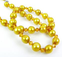 Big Gold Freshwater Pearls & Crystal Necklace