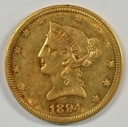 Much Scarcer 1894-O US $10 Liberty Gold Piece. Nice