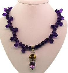 Chunky Amethyst and Citrine Necklace