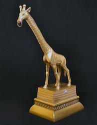 Rare Vintage Heavy Brass Giraffe on Pedestal Statue