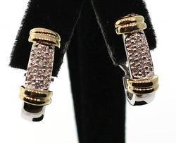Two Tone Pave Diamond Set J Hoop Earrings