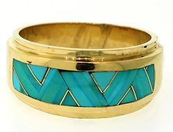 Gents Turquoise Inlay Band
