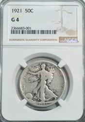 1921 Walking Liberty Half Dollar in NGC G4