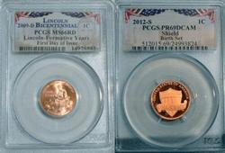 2 Different Lincoln Cents in PCGS High Grade Holders