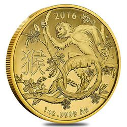 2016 Royal Australian $100 Gold Lunar Monkey Coin 1 oz