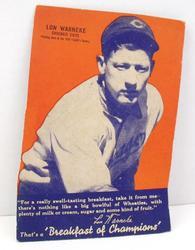 Rare 1936 Wheaties Lou Warneke Cut-Out