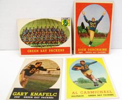 4 Topps 1958 Green Bay Packers Football Cards
