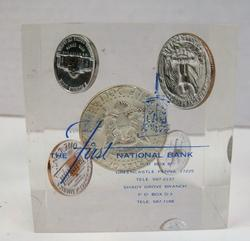1969 Lucite Coin Paperweight - 1st National Bank