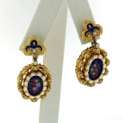 Antique Victorian Diamond & Enamel Earrings