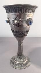 Blue Topaz Kiddush Cup/Goblet, Israel Sterling