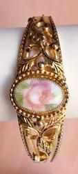 Stunning, Vintage, Flower on Porcelain, Hinged Bracelet