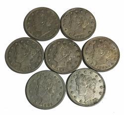 Lot of 7 Sharp V Nickels 1883 N/C