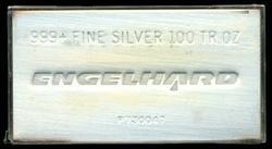Hallmarked.999+ Fine 100 Troy Oz. Engelhard Silver Bar