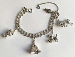 Whimsical, 4 Figural Charms, Silver Charm Bracelet