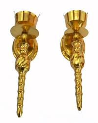 Elegant Pair of Swirl Pattern Solid Brass Sconces
