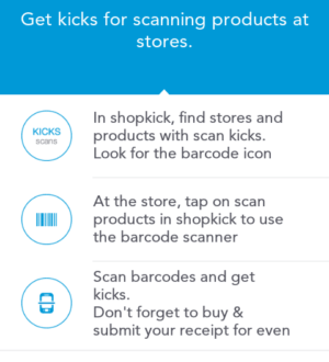 kicks for scanning products