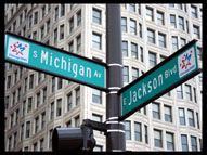 The intersection of Michigan and Jackson Avenues, Downtown Chicago