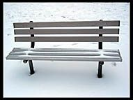 Bench in the snow, Chicago