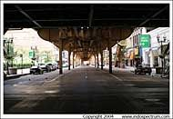 Under the El train tracks, Chicago