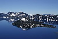 Snow on Wizard Island, Crater Lake National Park, Oregon
