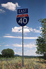 Sign for I-40 towards Grand Canyon National Park
